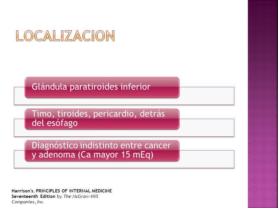 LOCALIZACION Glándula paratiroides inferior. Timo, tiroides, pericardio, detrás del esófago.
