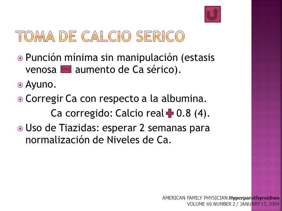Toma de CALCIO SERICO Punción mínima sin manipulación (estasis venosa aumento de Ca sérico). Ayuno.