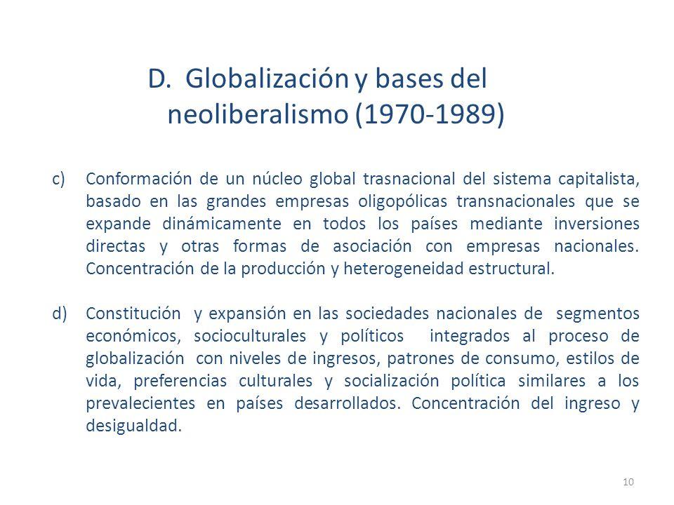 D. Globalización y bases del neoliberalismo (1970-1989)