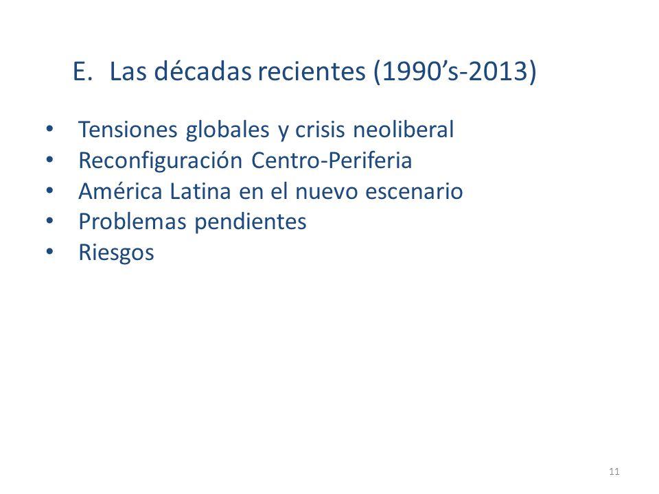 E. Las décadas recientes (1990's-2013)