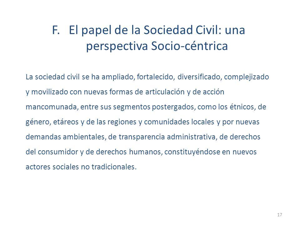 F. El papel de la Sociedad Civil: una perspectiva Socio-céntrica