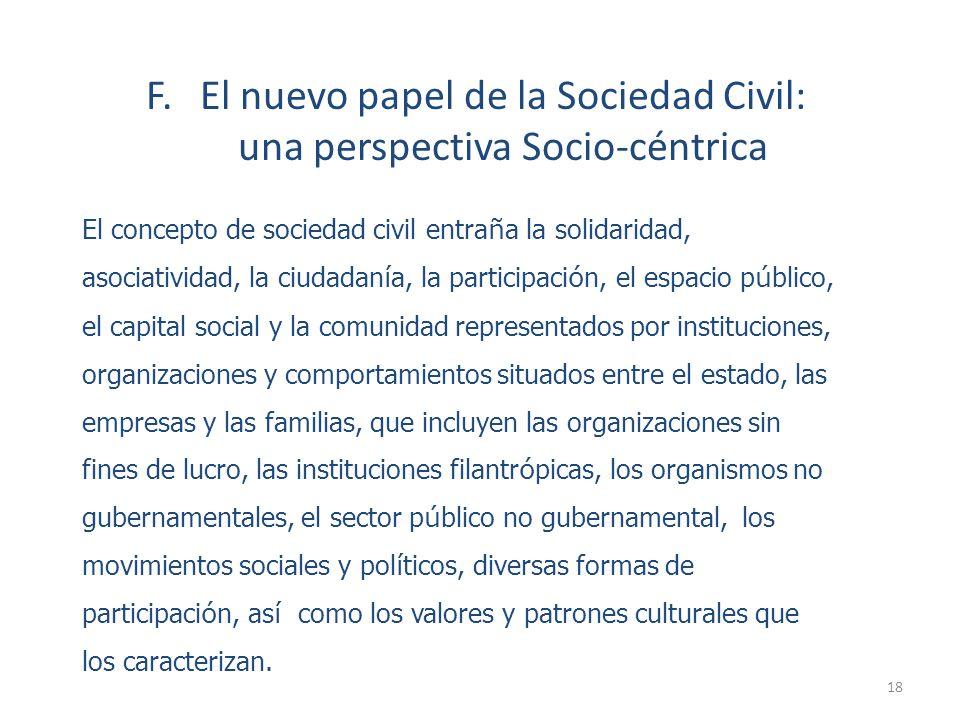 F. El nuevo papel de la Sociedad Civil: una perspectiva Socio-céntrica