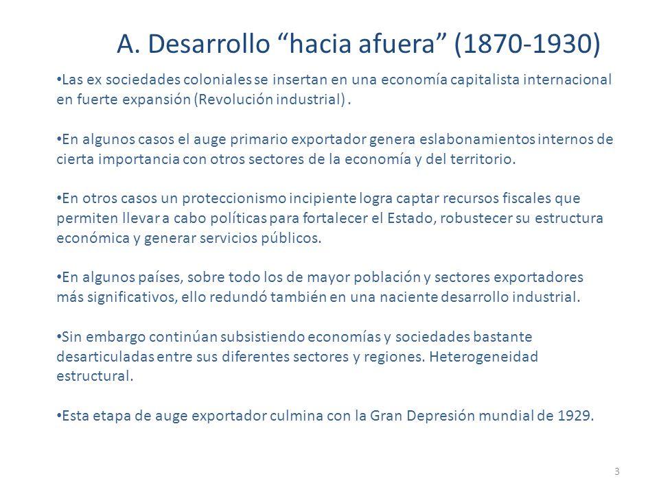A. Desarrollo hacia afuera (1870-1930)