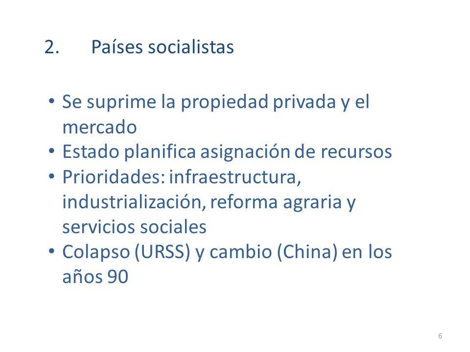 2. Países socialistas Se suprime la propiedad privada y el mercado. Estado planifica asignación de recursos.
