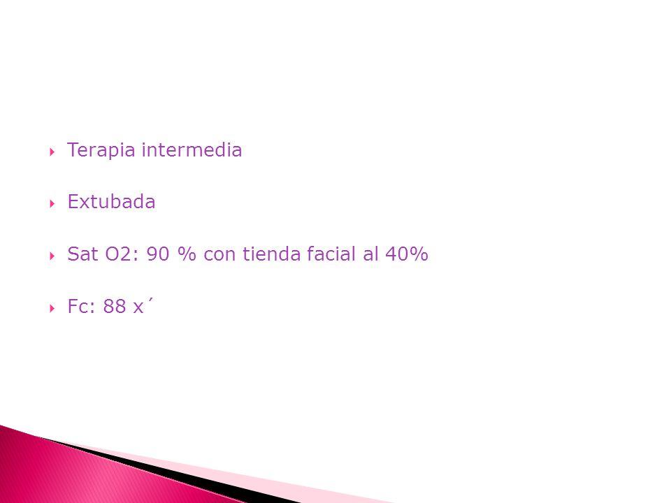 Terapia intermedia Extubada Sat O2: 90 % con tienda facial al 40% Fc: 88 x´