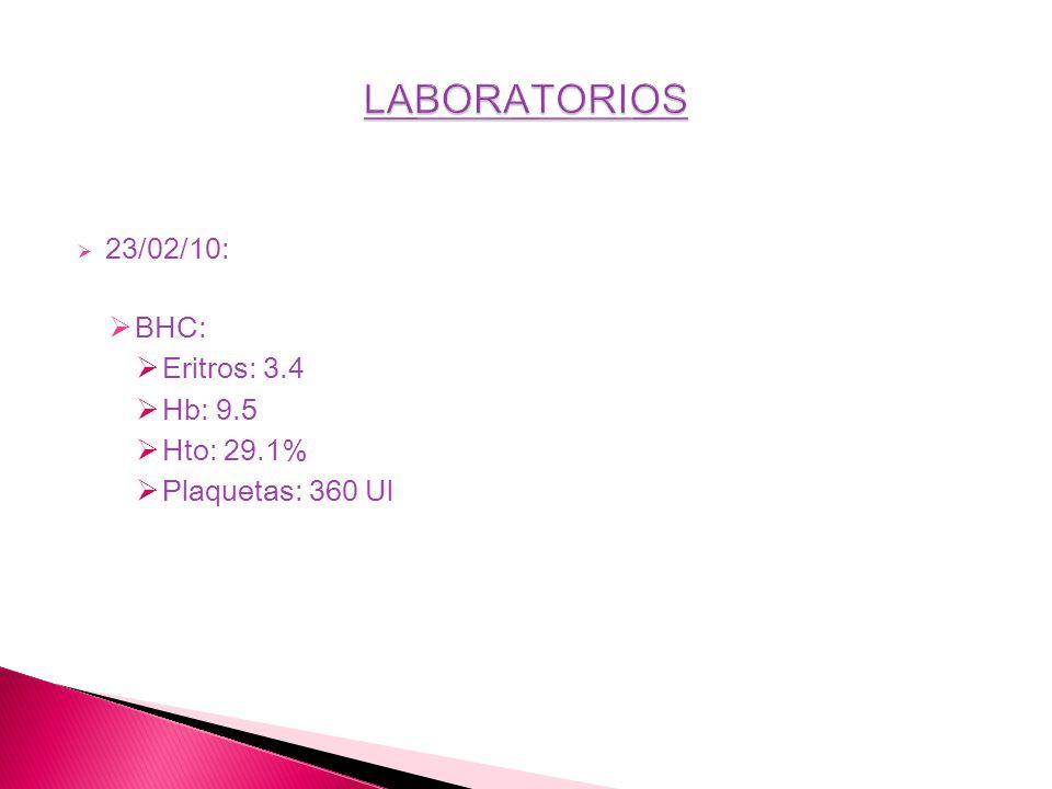 LABORATORIOS 23/02/10: BHC: Eritros: 3.4 Hb: 9.5 Hto: 29.1%