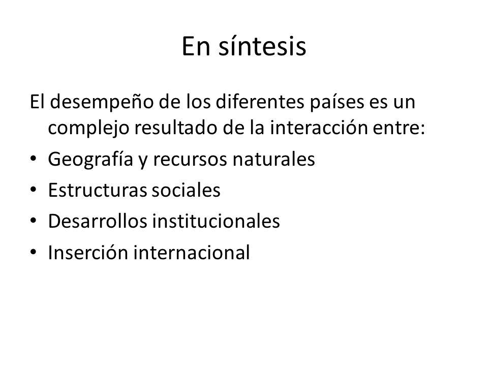 En síntesis El desempeño de los diferentes países es un complejo resultado de la interacción entre: