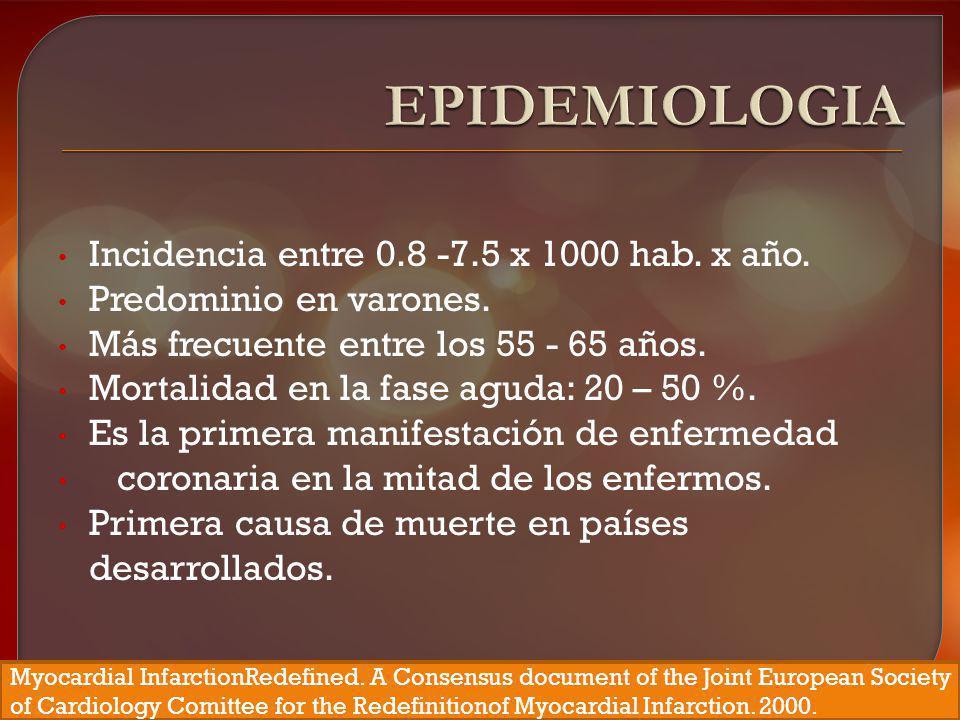 EPIDEMIOLOGIA Incidencia entre 0.8 -7.5 x 1000 hab. x año.