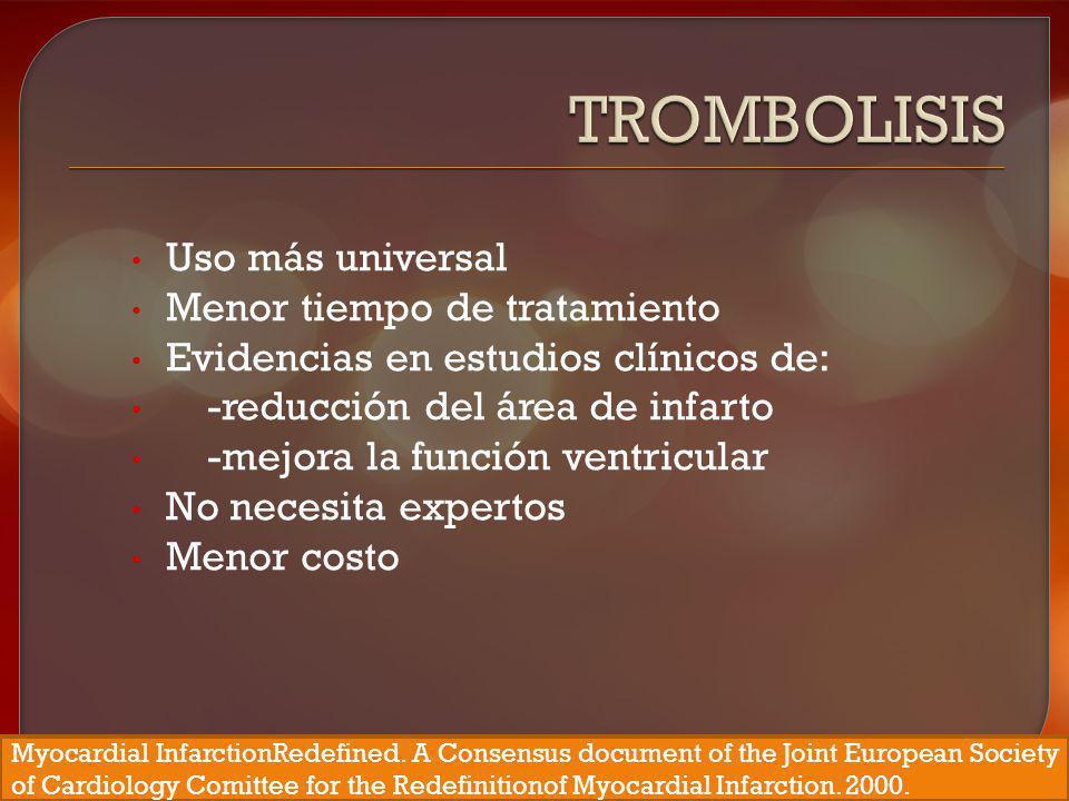 Trombolisis Uso más universal Menor tiempo de tratamiento