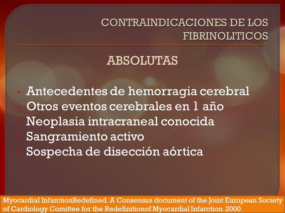 Contraindicaciones de los Fibrinoliticos