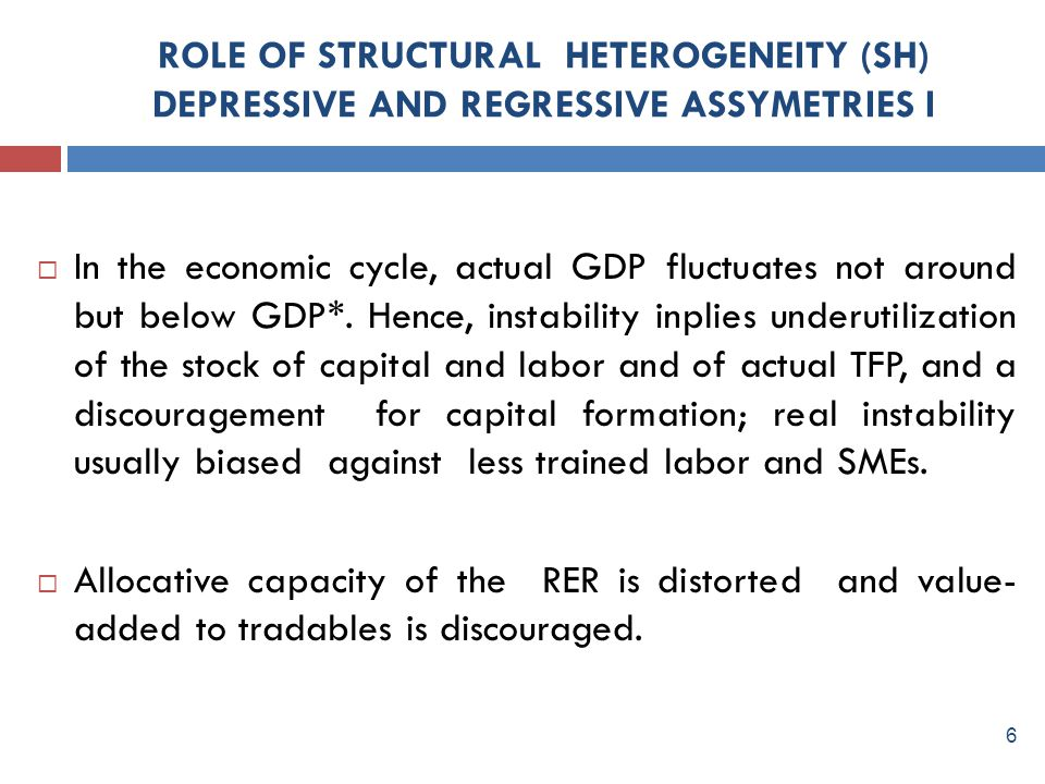 ROLE OF STRUCTURAL HETEROGENEITY (SH) DEPRESSIVE AND REGRESSIVE ASSYMETRIES I