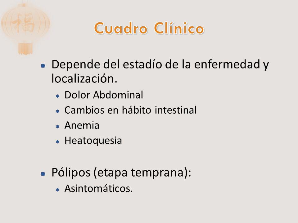 Cuadro Clínico Depende del estadío de la enfermedad y localización.