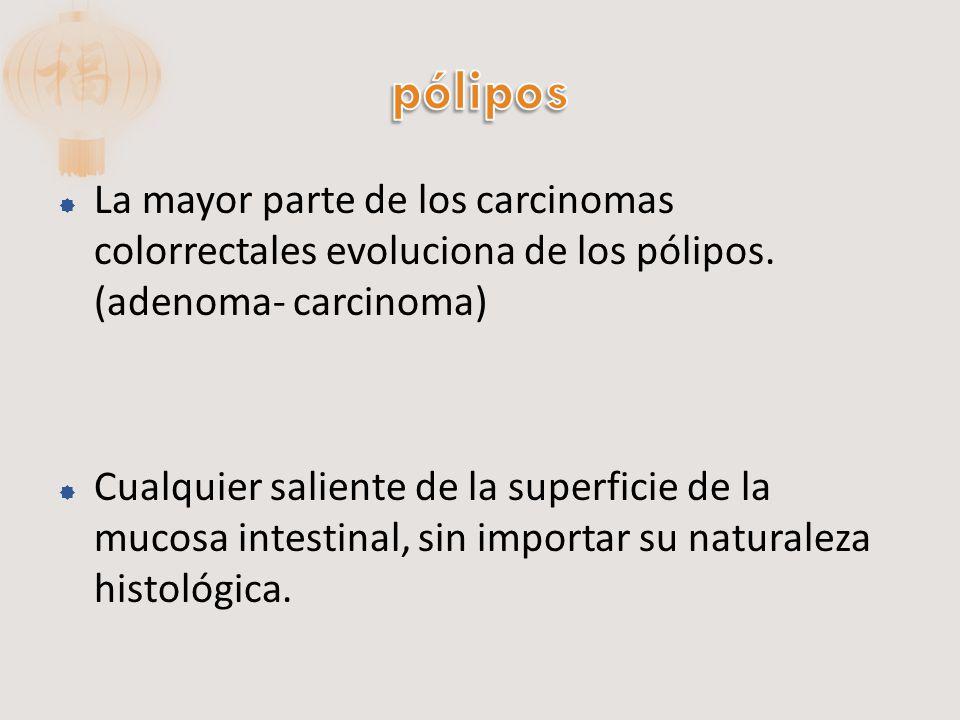 pólipos La mayor parte de los carcinomas colorrectales evoluciona de los pólipos. (adenoma- carcinoma)