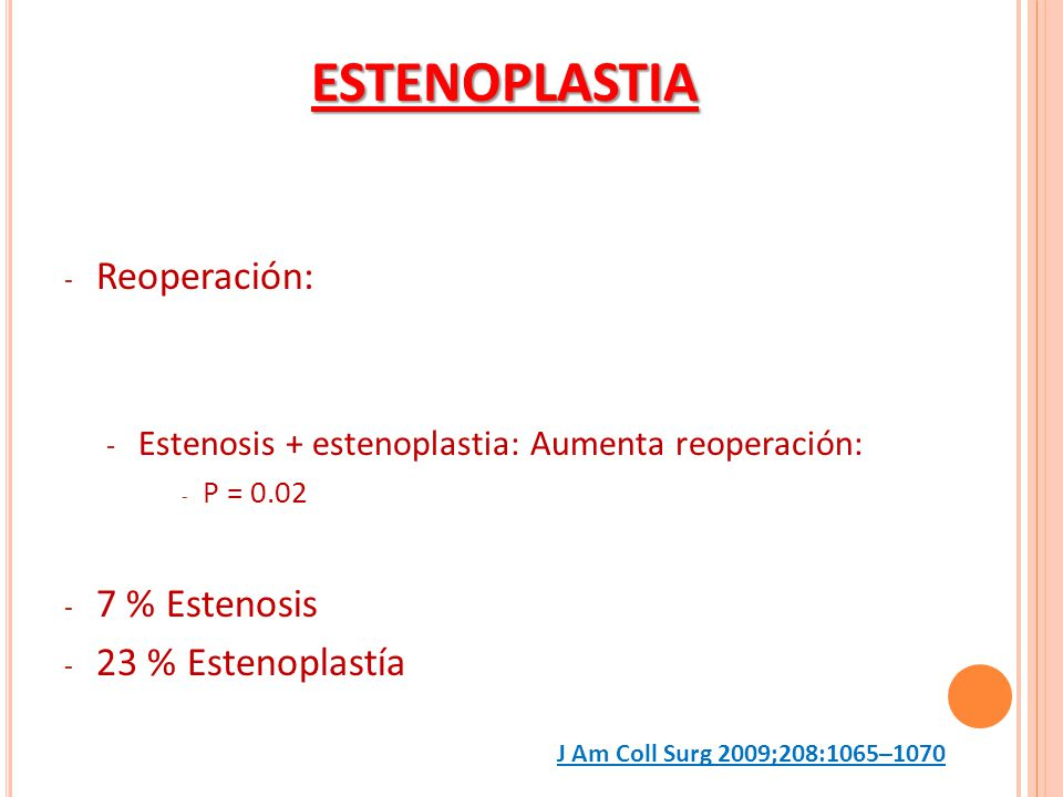 ESTENOPLASTIA Reoperación: 7 % Estenosis 23 % Estenoplastía