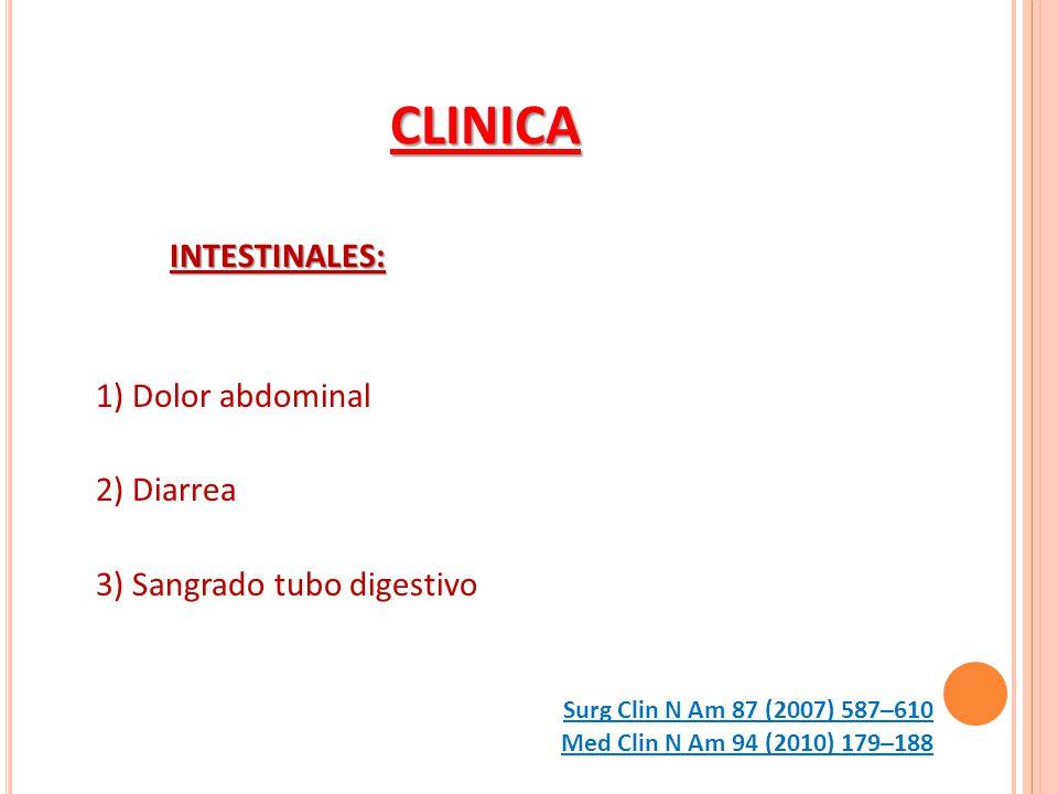 CLINICA INTESTINALES: 1) Dolor abdominal 2) Diarrea