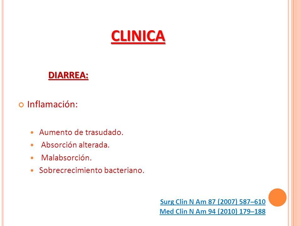 CLINICA DIARREA: Inflamación: Aumento de trasudado.