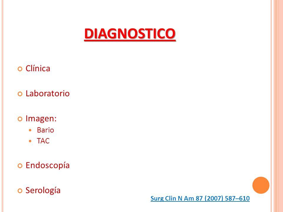 DIAGNOSTICO Clínica Laboratorio Imagen: Endoscopía Serología Bario TAC