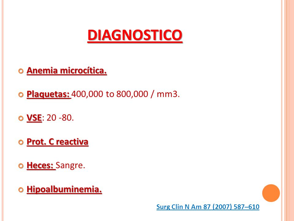 DIAGNOSTICO Anemia microcítica. Plaquetas: 400,000 to 800,000 / mm3.
