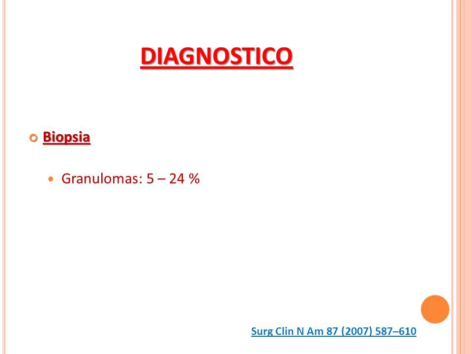 DIAGNOSTICO Biopsia Granulomas: 5 – 24 %