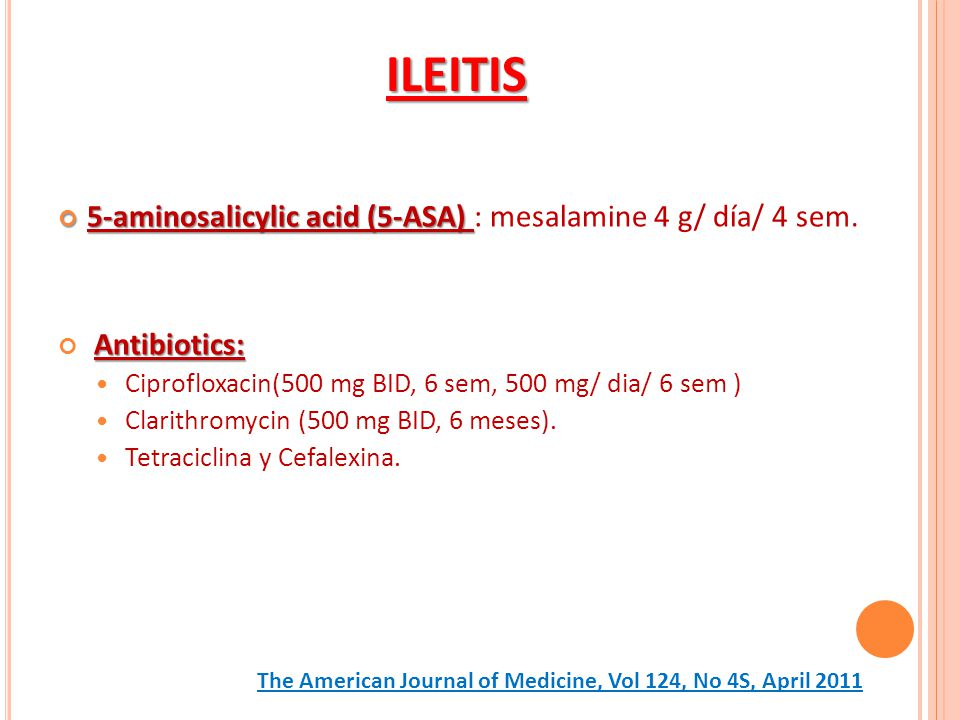 ILEITIS 5-aminosalicylic acid (5-ASA) : mesalamine 4 g/ día/ 4 sem.