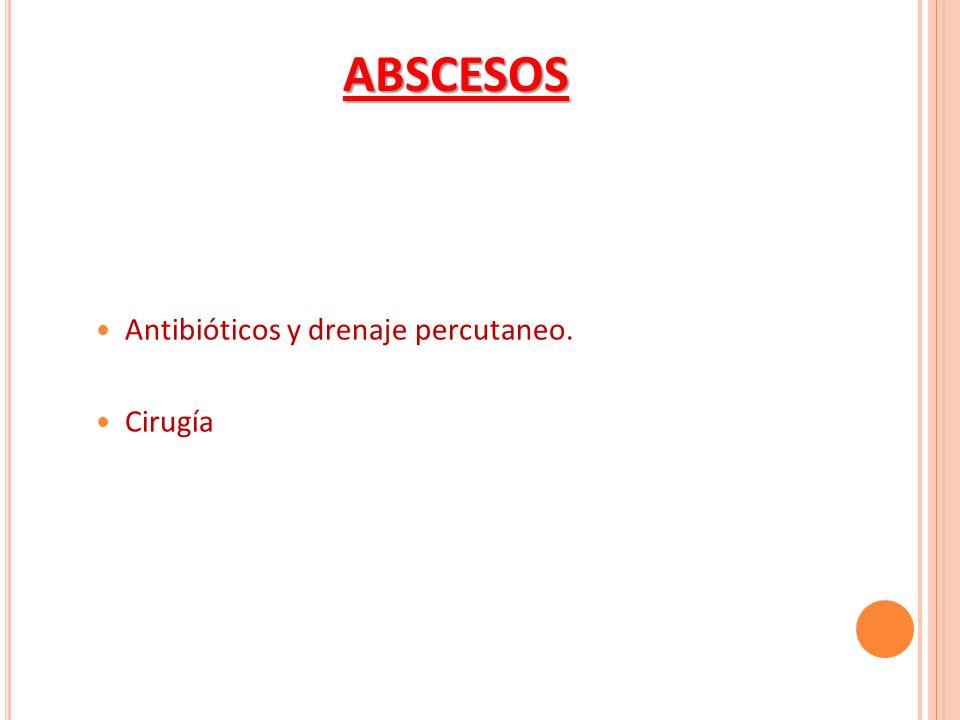 ABSCESOS Antibióticos y drenaje percutaneo. Cirugía