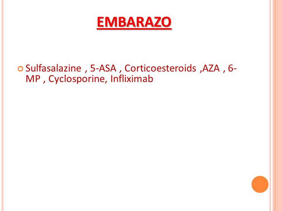 EMBARAZO Sulfasalazine , 5-ASA , Corticoesteroids ,AZA , 6- MP , Cyclosporine, Infliximab
