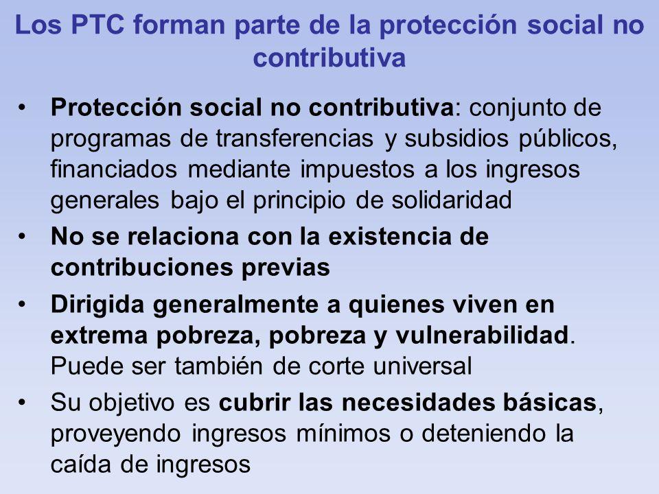 Los PTC forman parte de la protección social no contributiva