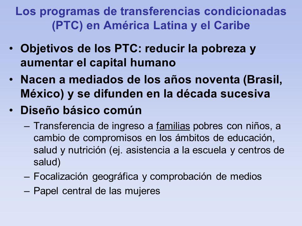 Objetivos de los PTC: reducir la pobreza y aumentar el capital humano
