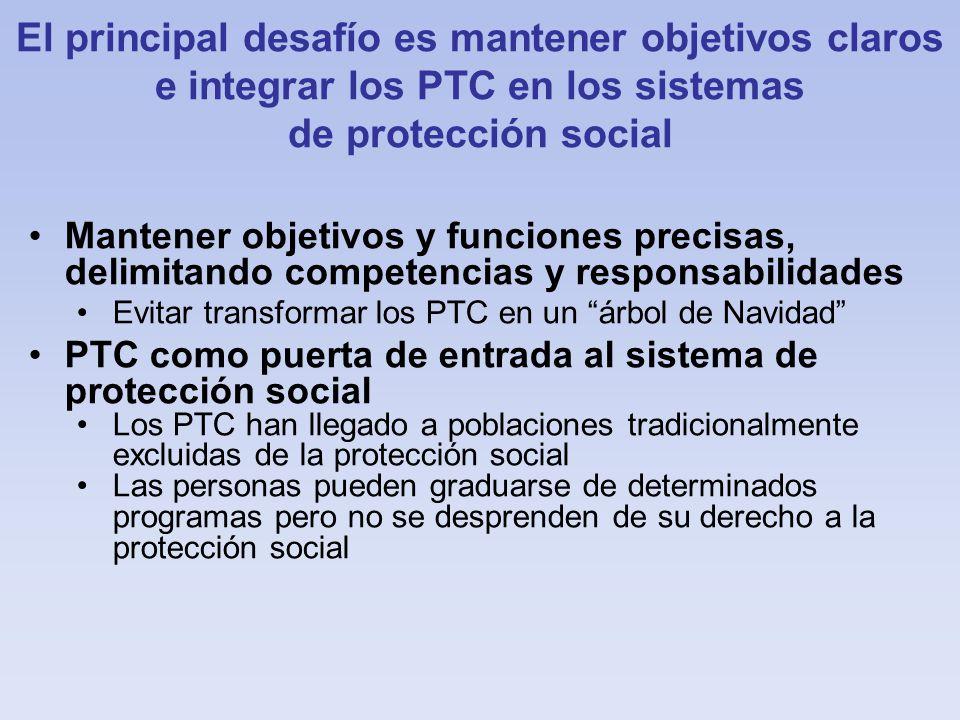 El principal desafío es mantener objetivos claros e integrar los PTC en los sistemas de protección social