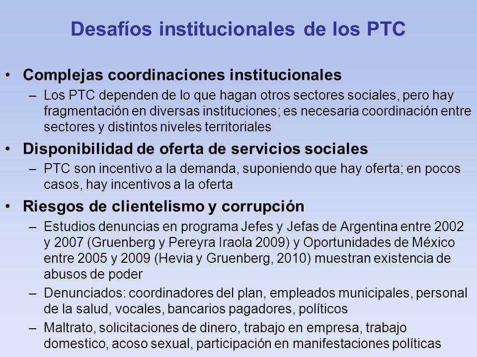 Desafíos institucionales de los PTC