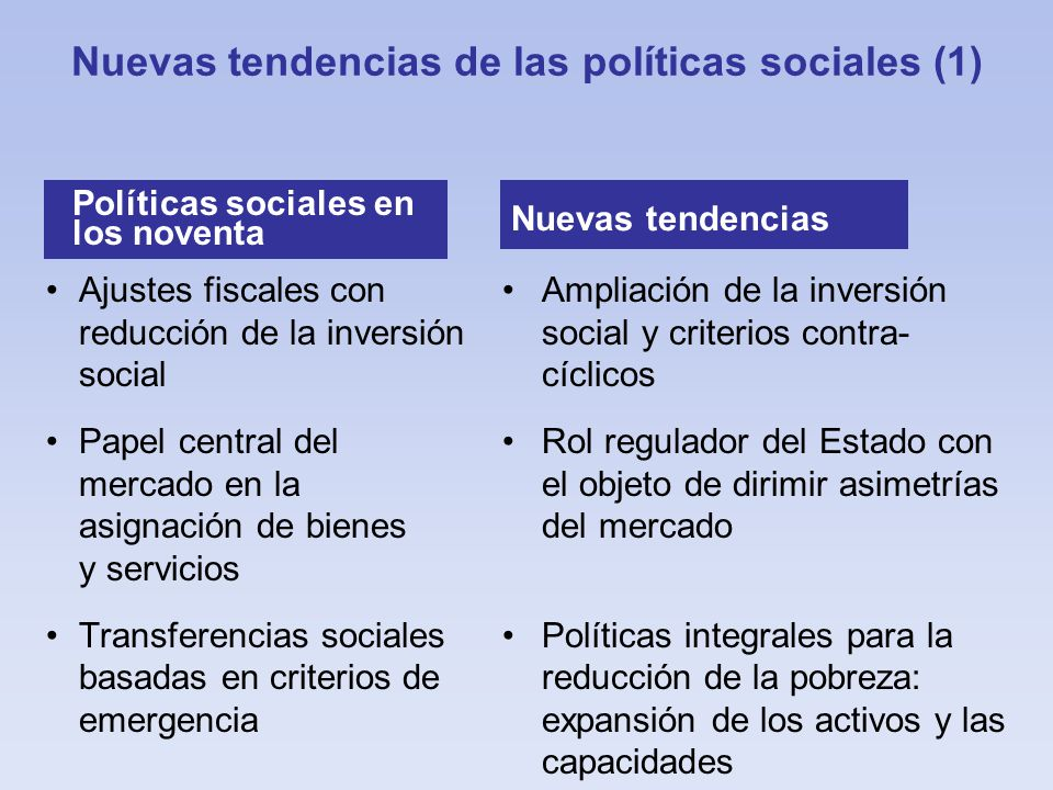 Nuevas tendencias de las políticas sociales (1)