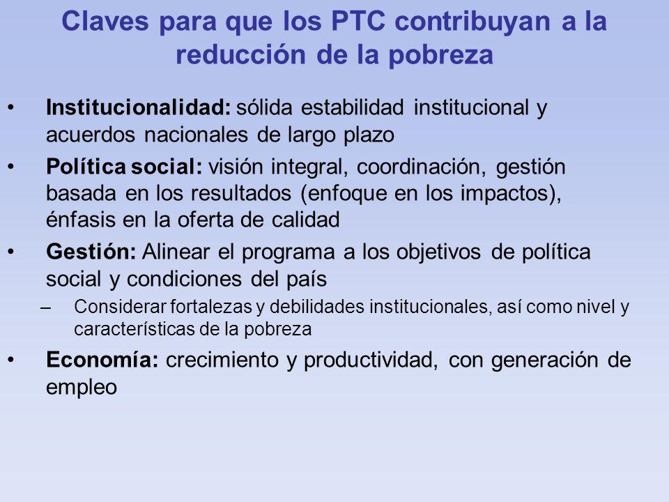 Claves para que los PTC contribuyan a la reducción de la pobreza