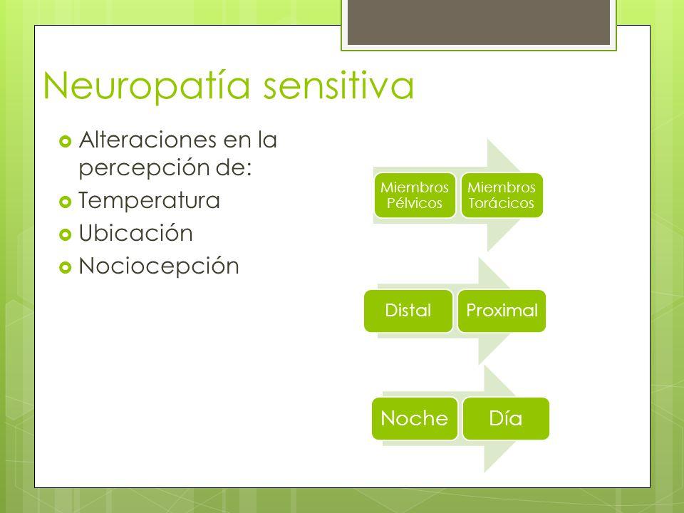 Neuropatía sensitiva Alteraciones en la percepción de: Temperatura