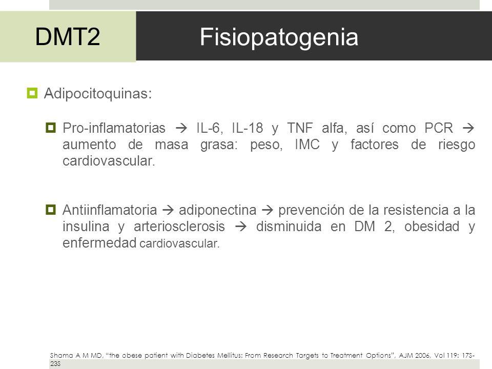 Fisiopatogenia DMT2 Adipocitoquinas: