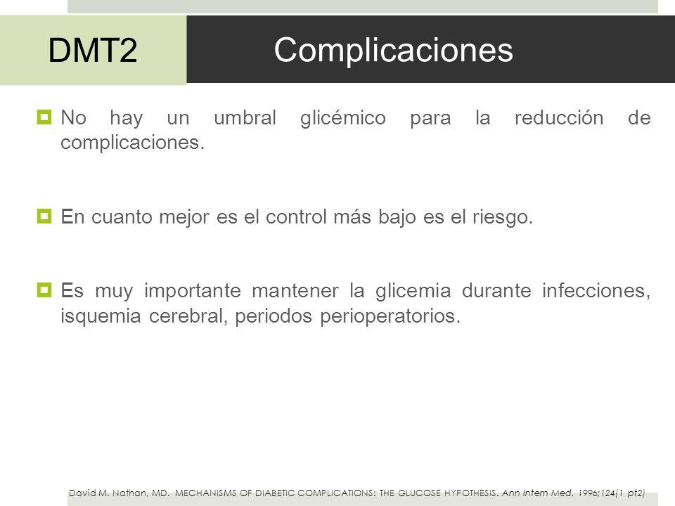 Complicaciones DMT2. No hay un umbral glicémico para la reducción de complicaciones. En cuanto mejor es el control más bajo es el riesgo.