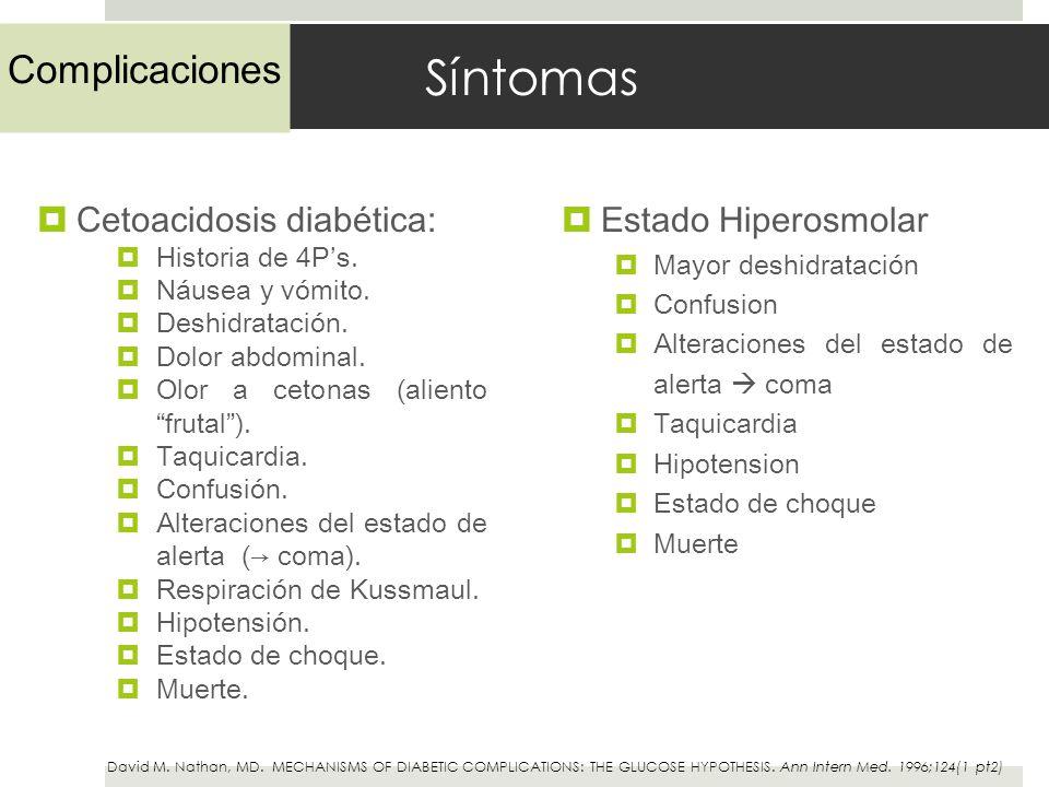 Síntomas Complicaciones Estado Hiperosmolar Cetoacidosis diabética: