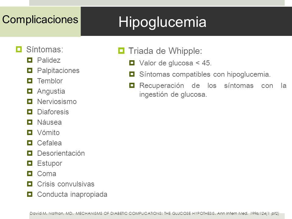 Hipoglucemia Complicaciones Triada de Whipple: Síntomas: Palidez