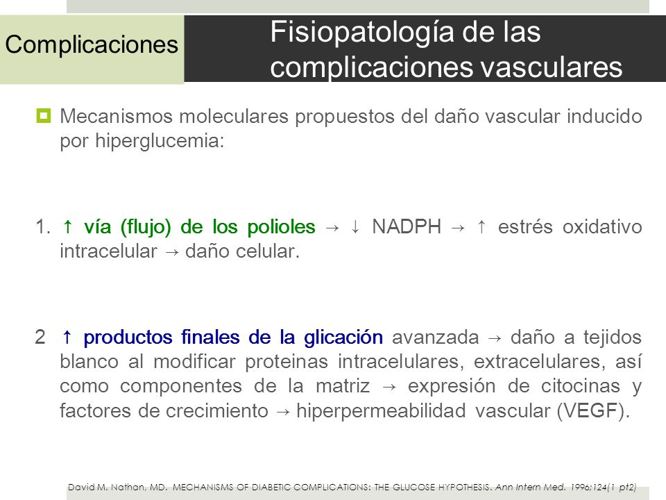 Fisiopatología de las complicaciones vasculares