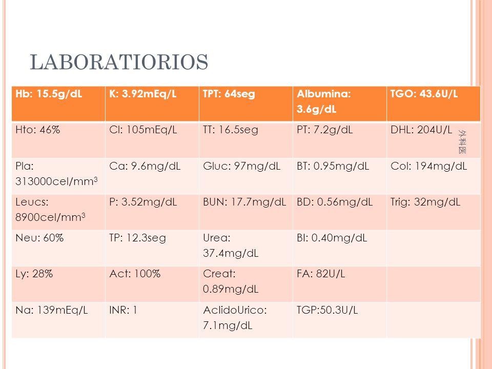 LABORATIORIOS Hb: 15.5g/dL K: 3.92mEq/L TPT: 64seg Albumina: 3.6g/dL