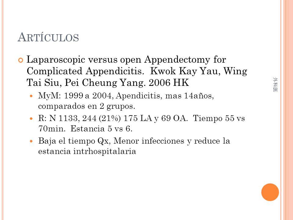 Artículos Laparoscopic versus open Appendectomy for Complicated Appendicitis. Kwok Kay Yau, Wing Tai Siu, Pei Cheung Yang. 2006 HK.