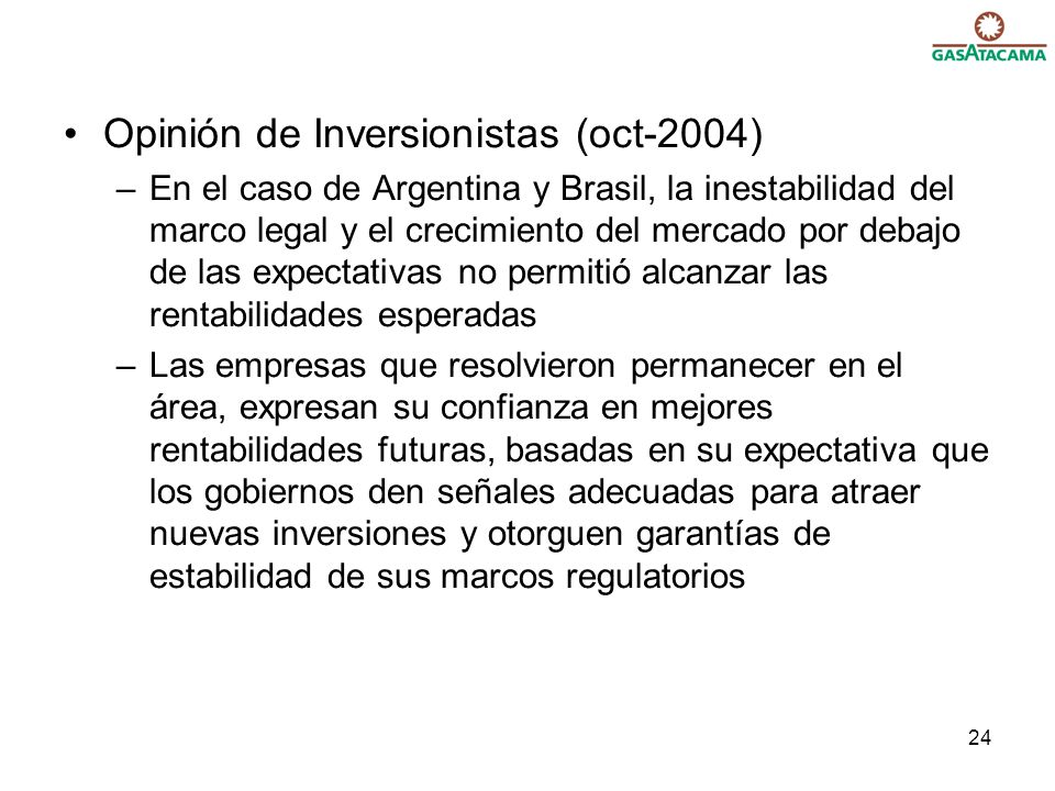 Opinión de Inversionistas (oct-2004)