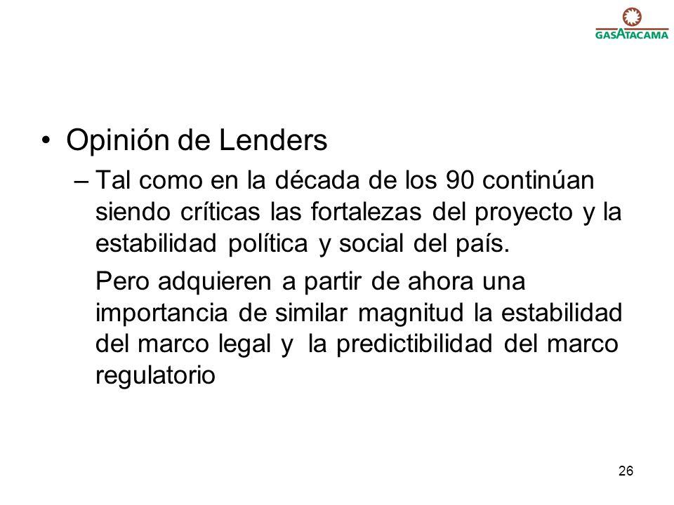 Opinión de Lenders Tal como en la década de los 90 continúan siendo críticas las fortalezas del proyecto y la estabilidad política y social del país.