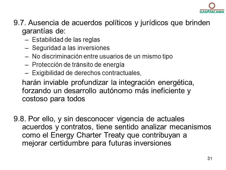 9.7. Ausencia de acuerdos políticos y jurídicos que brinden garantías de: