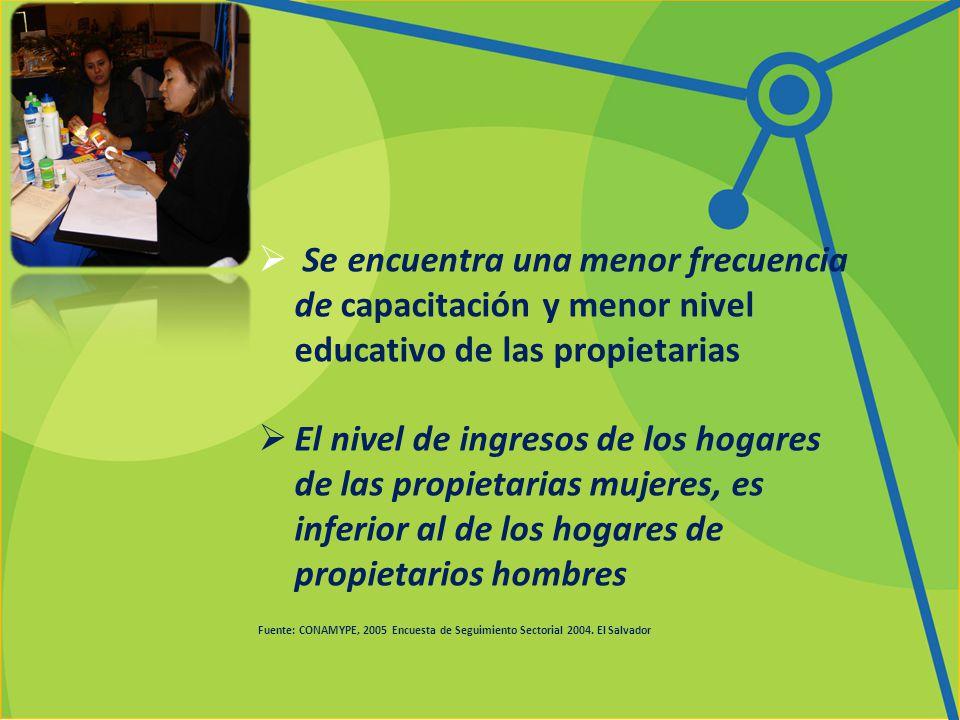 Se encuentra una menor frecuencia de capacitación y menor nivel educativo de las propietarias