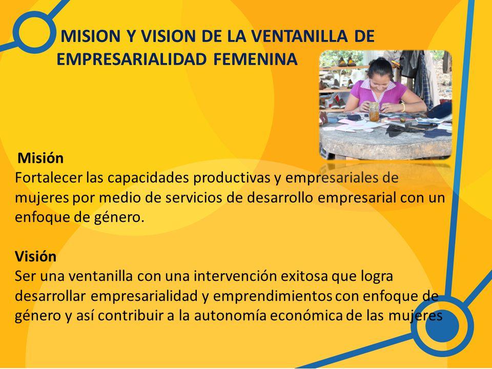 MISION Y VISION DE LA VENTANILLA DE EMPRESARIALIDAD FEMENINA