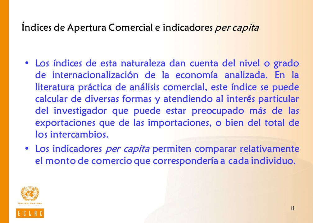 Índices de Apertura Comercial e indicadores per capita