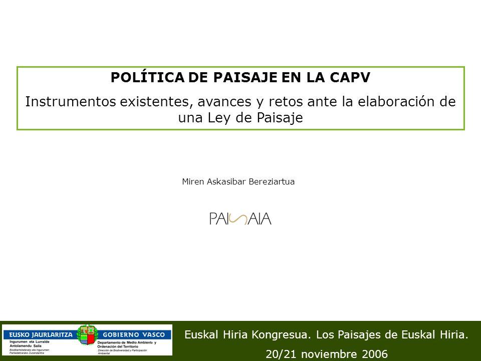 POLÍTICA DE PAISAJE EN LA CAPV