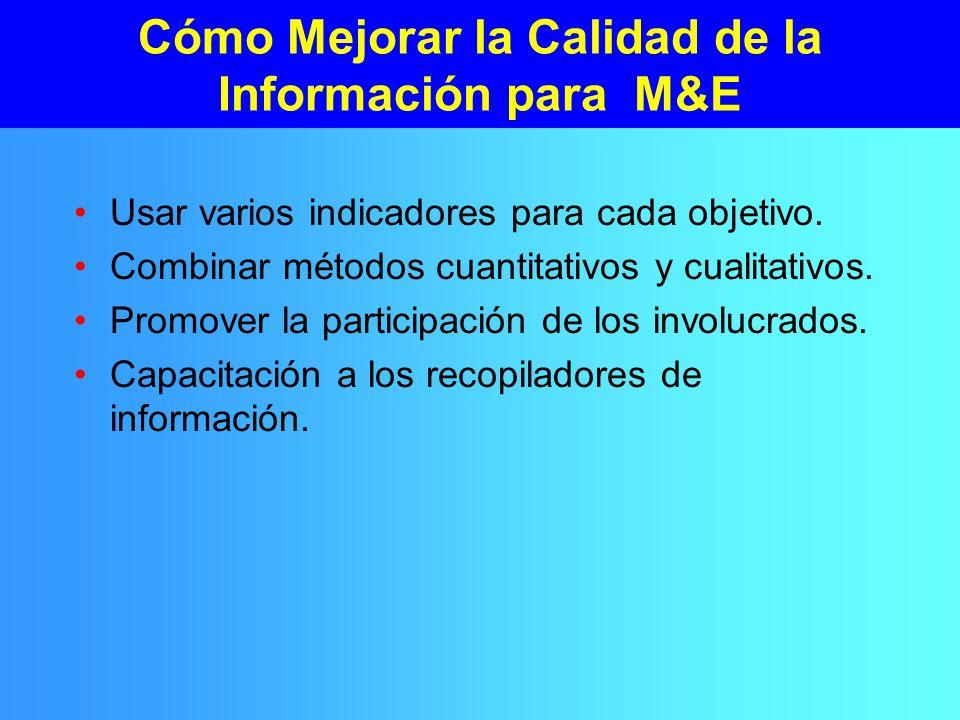 Cómo Mejorar la Calidad de la Información para M&E