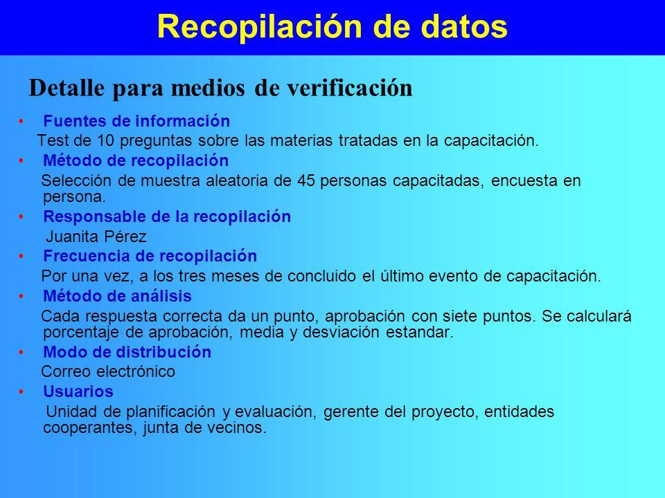 Detalle para medios de verificación