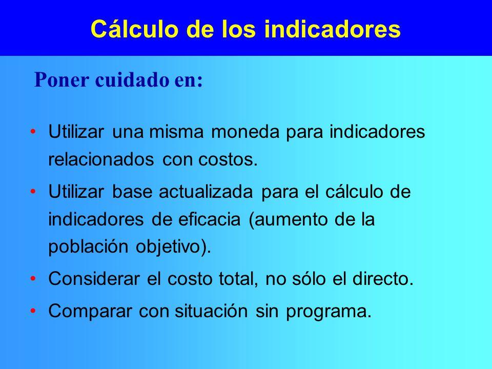 Cálculo de los indicadores